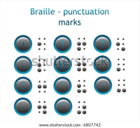 Braille - punctuation marks - stock vector