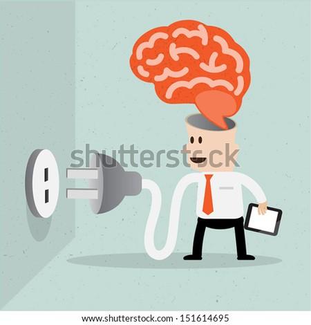 Brain and bulb idea,Business man plug idea bulb - stock vector