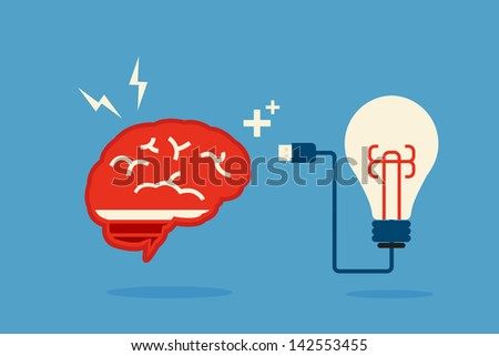 brain and bulb idea, minimal art vector design - stock vector