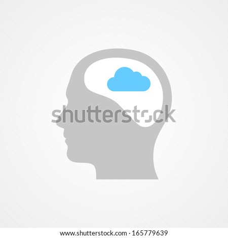 Brain and cloud - stock vector