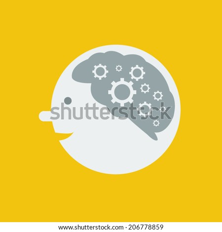 brain and gears on yellow background, vector - stock vector