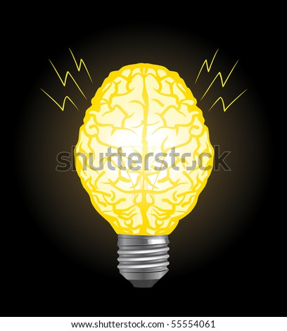 brain and lamp - stock vector