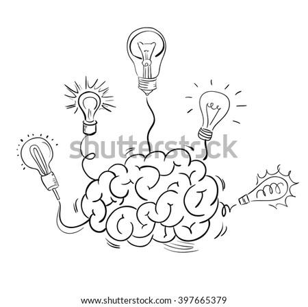 Brain and many idea light bulbs. Vector sketch - stock vector