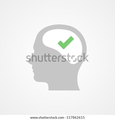 Brain and tick - stock vector