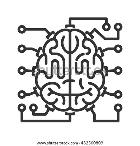 Brain as central processing unit with elements of printed circuit board. Line style icon. Artificial intelligence concept - stock vector