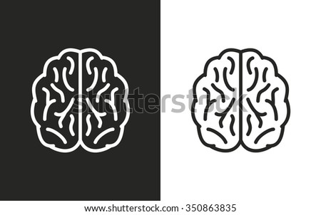 Brain  -  black and white icons. Vector illustration - stock vector