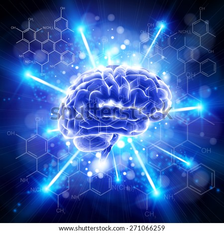 brain - blue bang & chemical forms - technology concept / vector illustration / eps10