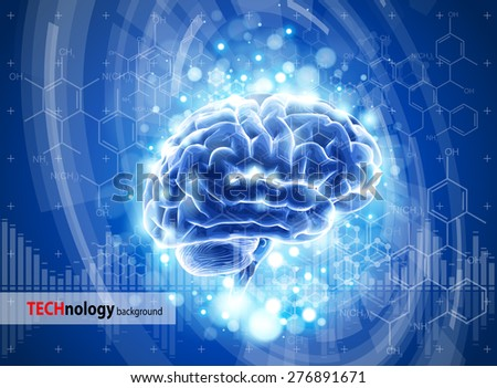 brain - blue technology concept / vector illustration / eps10 - stock vector