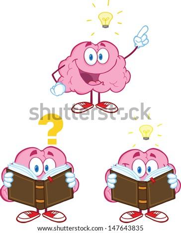 Brain Cartoon Mascot Collection 10 - stock vector