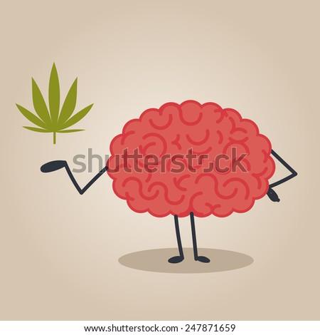Brain character: drugs - stock vector