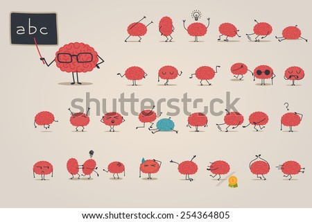 Brain character set - stock vector