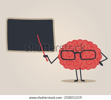Brain character: Teaching - stock vector