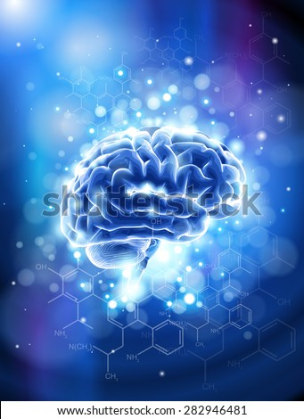 Brain & chemical formulas - blue technology concept / vector illustration / eps10 - stock vector