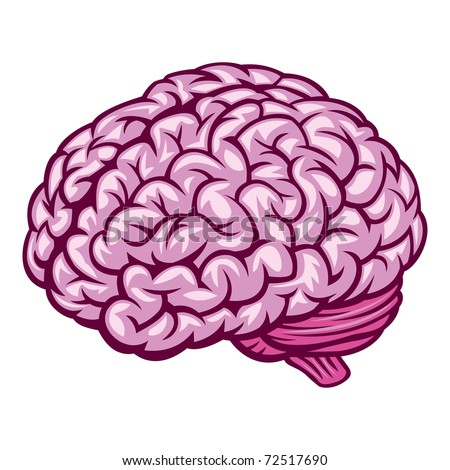 Brain. Comics Drawing. Vector Illustration - stock vector