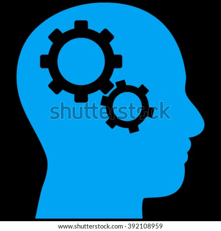 Brain Components vector icon. Image style is flat brain gears pictogram symbol drawn with blue color on a black background. - stock vector