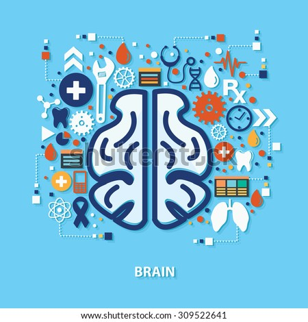 Brain concept design on blue background,clean vector - stock vector