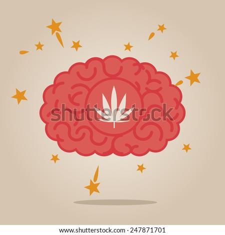 Brain concept illustration: drugs - stock vector
