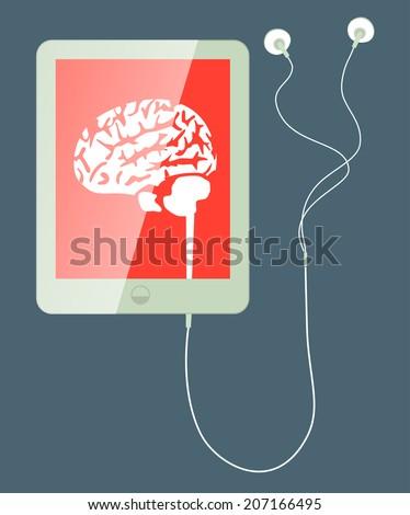 brain concept: tablet - Illustration - stock vector