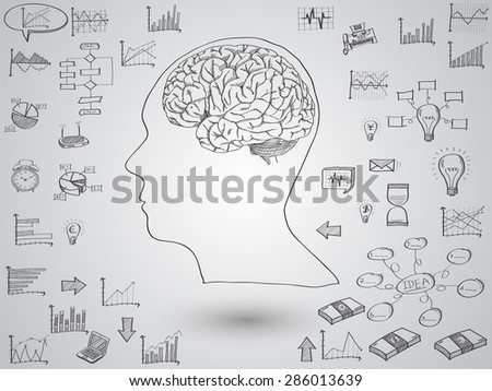 Brain concept with creative doodle graph and chart, Vector Illustration EPS 10. - stock vector