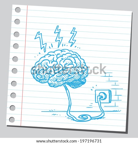 Brain connected to power outlet - stock vector