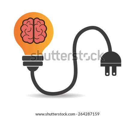 Brain design over white background, vector illustration. - stock vector