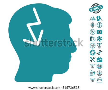 Brain Electric Strike icon with bonus copter tools pictograph collection. Vector illustration style is flat iconic symbols on white background.