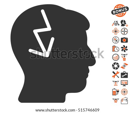 Brain Electric Strike pictograph with bonus aircopter service pictograph collection. Vector illustration style is flat iconic symbols on white background.