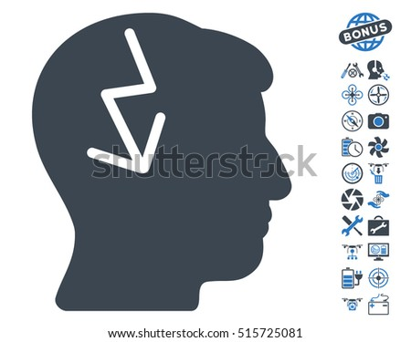 Brain Electric Strike pictograph with bonus copter service clip art. Vector illustration style is flat iconic symbols on white background.
