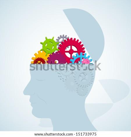 Brain Engine in vector, open head - stock vector