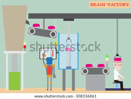 Brain factory, robotic manufacturing process, human programming, abstract vector design - stock vector