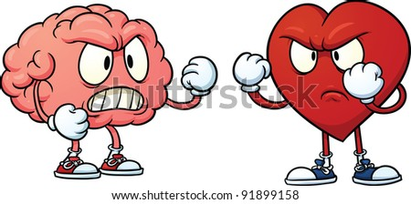 Brain fighting heart. Vector illustration with simple gradients. Each in a separate layer for easy editing. - stock vector