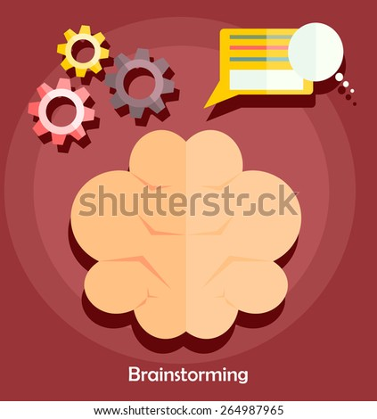 Brain flat style vector. Brainstorm concept. Brainstorming creative idea icon. - stock vector