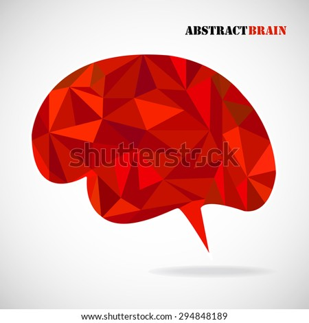 Brain from 3D geometric colorful  triangles, isolated on white. Vector illustration. Eps 10 - stock vector