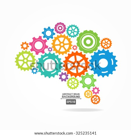 Brain gear colorful - stock vector