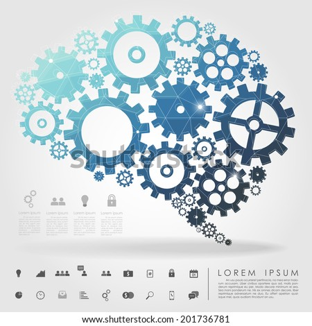 brain gear polygon with business icon vector - stock vector