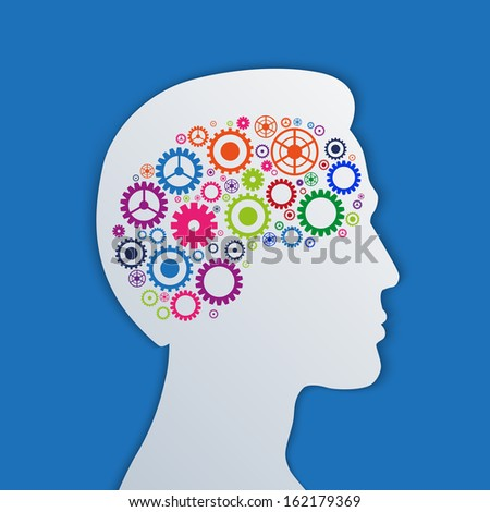 Brain gears in the head, human thinking concept vector illustration