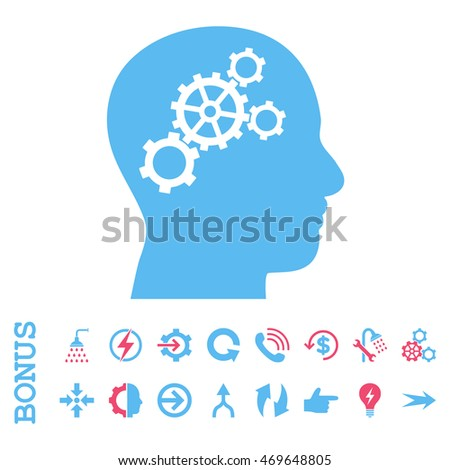 Brain Gears vector bicolor icon. Image style is a flat iconic symbol, pink and blue colors, white background.