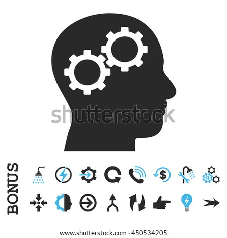 Brain Gears vector bicolor icon. Image style is a flat pictogram symbol, blue and gray colors, white background.