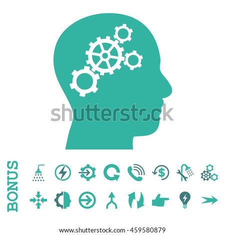 Brain Gears vector bicolor icon. Image style is a flat pictogram symbol, cobalt and cyan colors, white background.