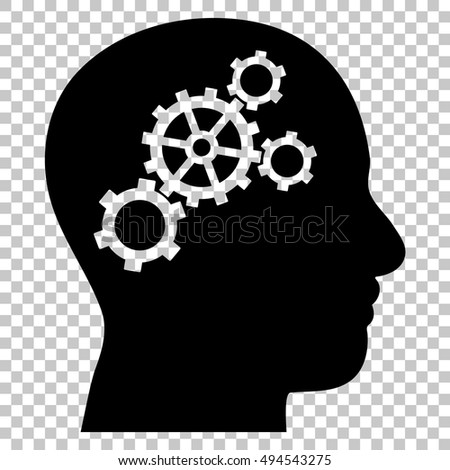 Brain Gears vector icon. Image style is a flat black iconic symbol.