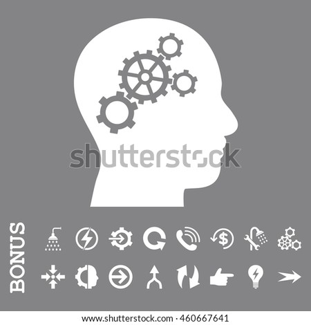 Brain Gears vector icon. Image style is a flat iconic symbol, white color, gray background.