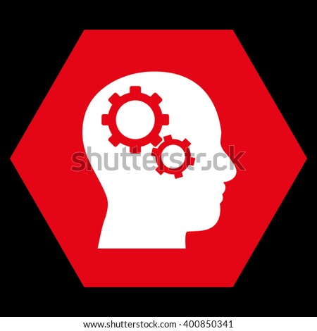 Brain Gears vector icon symbol. Image style is bicolor flat brain gears pictogram symbol drawn on a hexagon with red and white colors. - stock vector