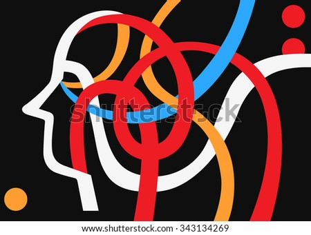 brain head abstract background with lines - stock vector
