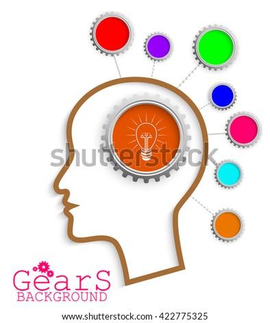 Brain head idea link concept gears.vector - stock vector