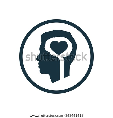 brain heart icon, on white background - stock vector