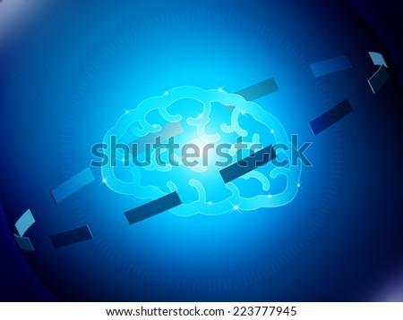 Brain Hi Tech. Brain Concept Vector Design. brain & blue bokeh abstract light background. Abstract Blue Background. Elements for design. All in a single layer. Vector illustration. - stock vector