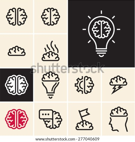 Brain icon. Brainstorm idea icon. - stock vector