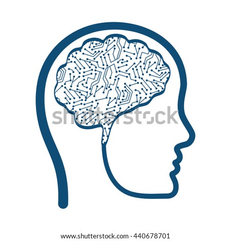 Brain icon. Human head design. vector graphic