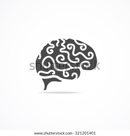 Brain Icon Isolated On Background. Mind and Science. Vector illustration - stock vector