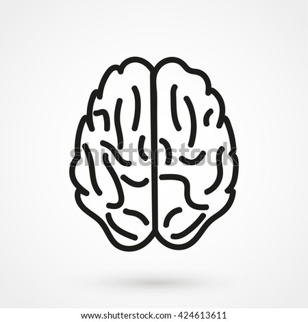 Brain Icon isolated on background. Modern flat pictogram, business, marketing, internet concept. Trendy Simple vector symbol for web site design or button to mobile app. Logo illustration - stock vector